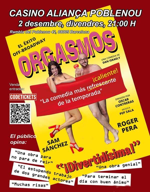 'Orgasmos, la comedia!', en Poblenou, Barcelona, este viernes 2 de diciembre