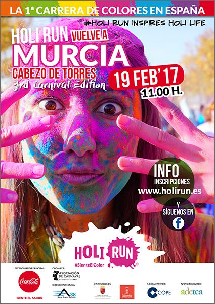 La Holi Run anticipa el carnaval de Murcia con sus alegres colores