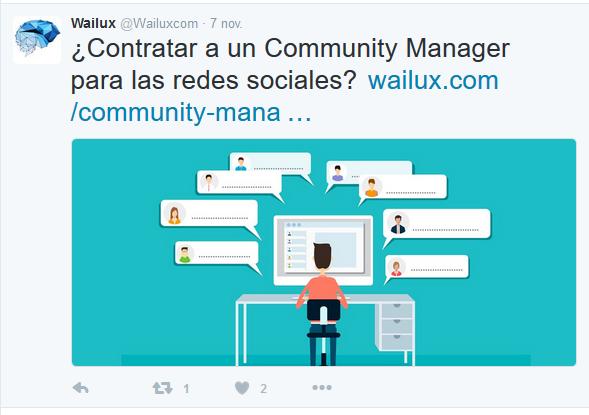 Fotografia Ejemplo de tweet lanzado por Wailux
