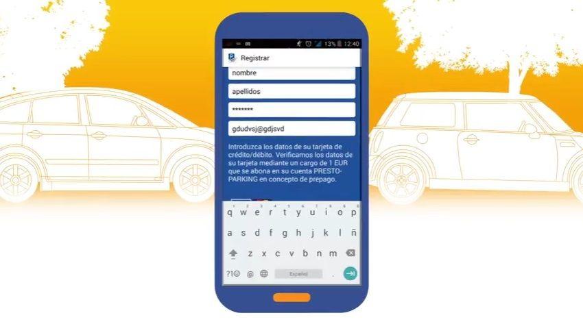 Fotografia Pago de parquímetro mediante app Presto Parking