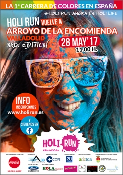 Cartel Holi Run Arroyo de la Encomienda - Valladolid 28-05-17