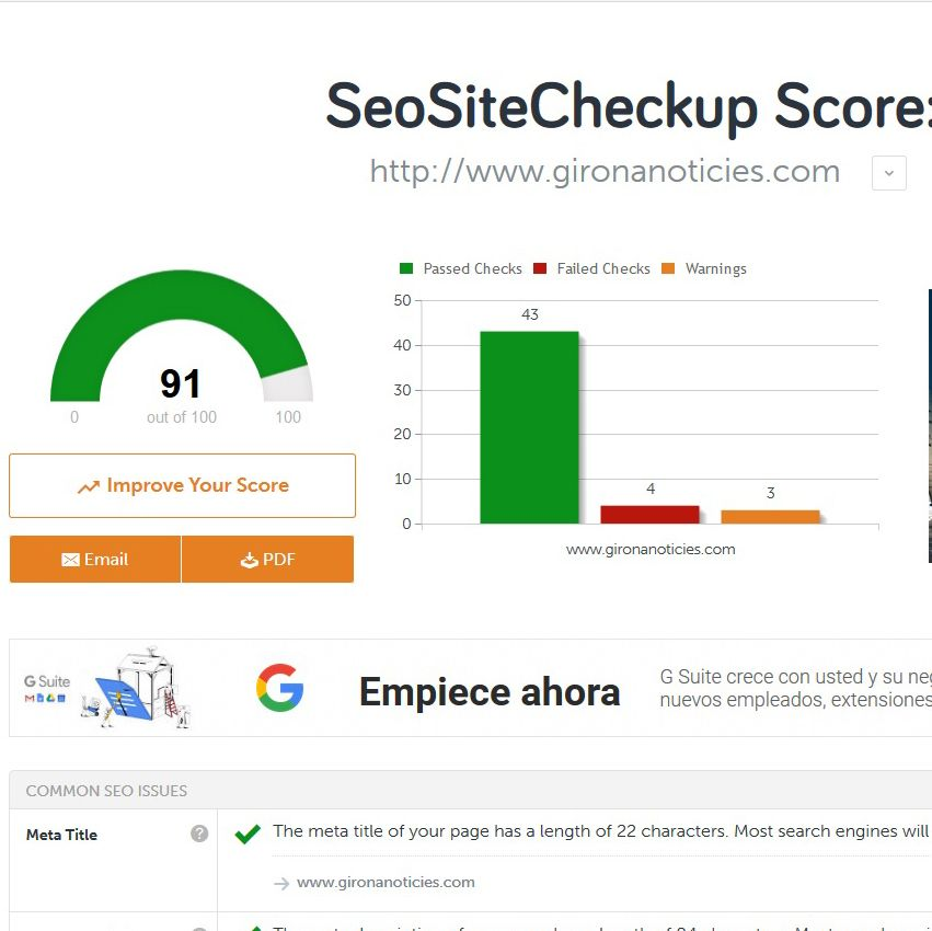 Fotografia SEO Site Checkup