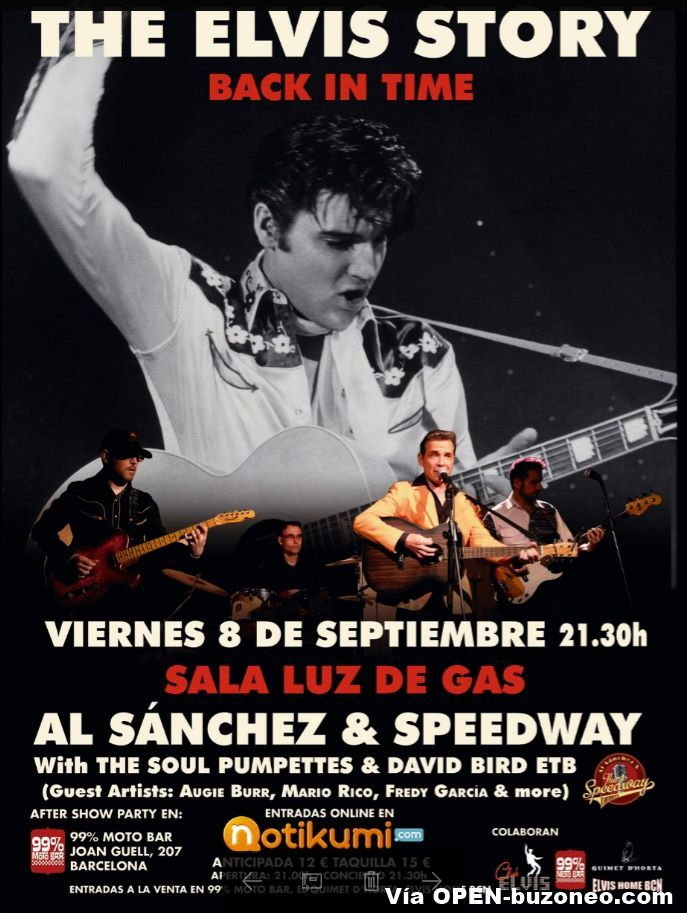 Tributo a Elvis Presley en Luz de Gas Barcelona el viernes, 8 septiembre 2017, a las 21:30h