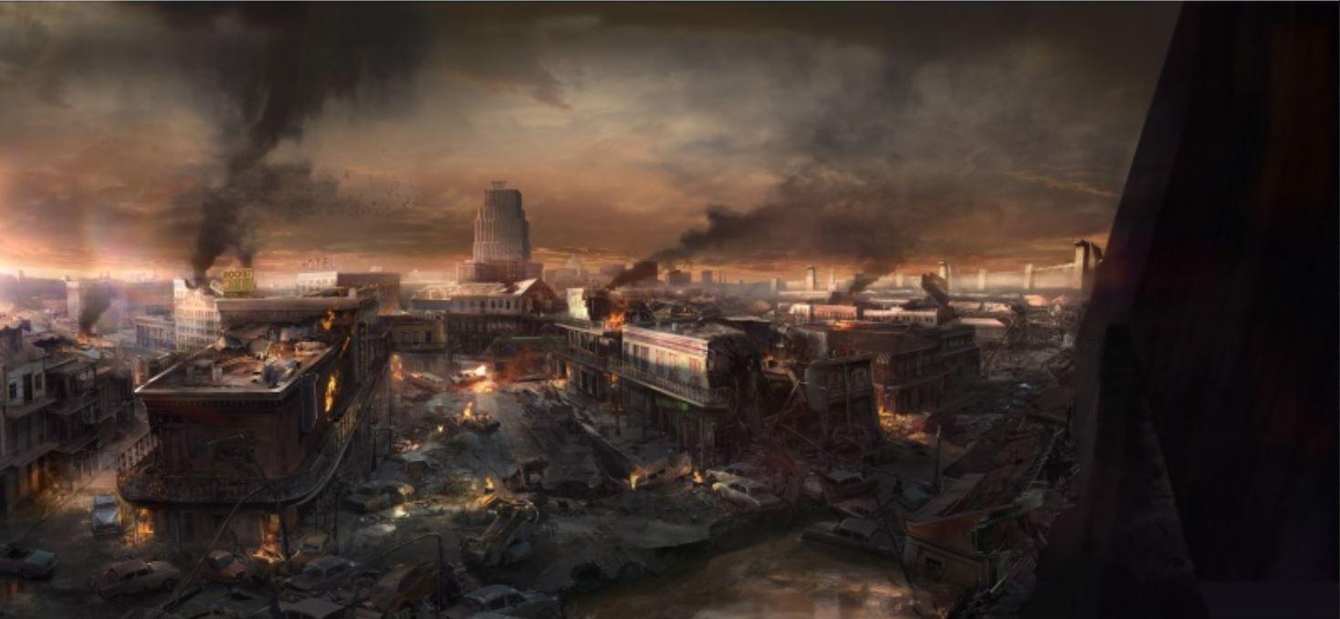 Bocetos de los escenarios del videojuego Wolfenstein II