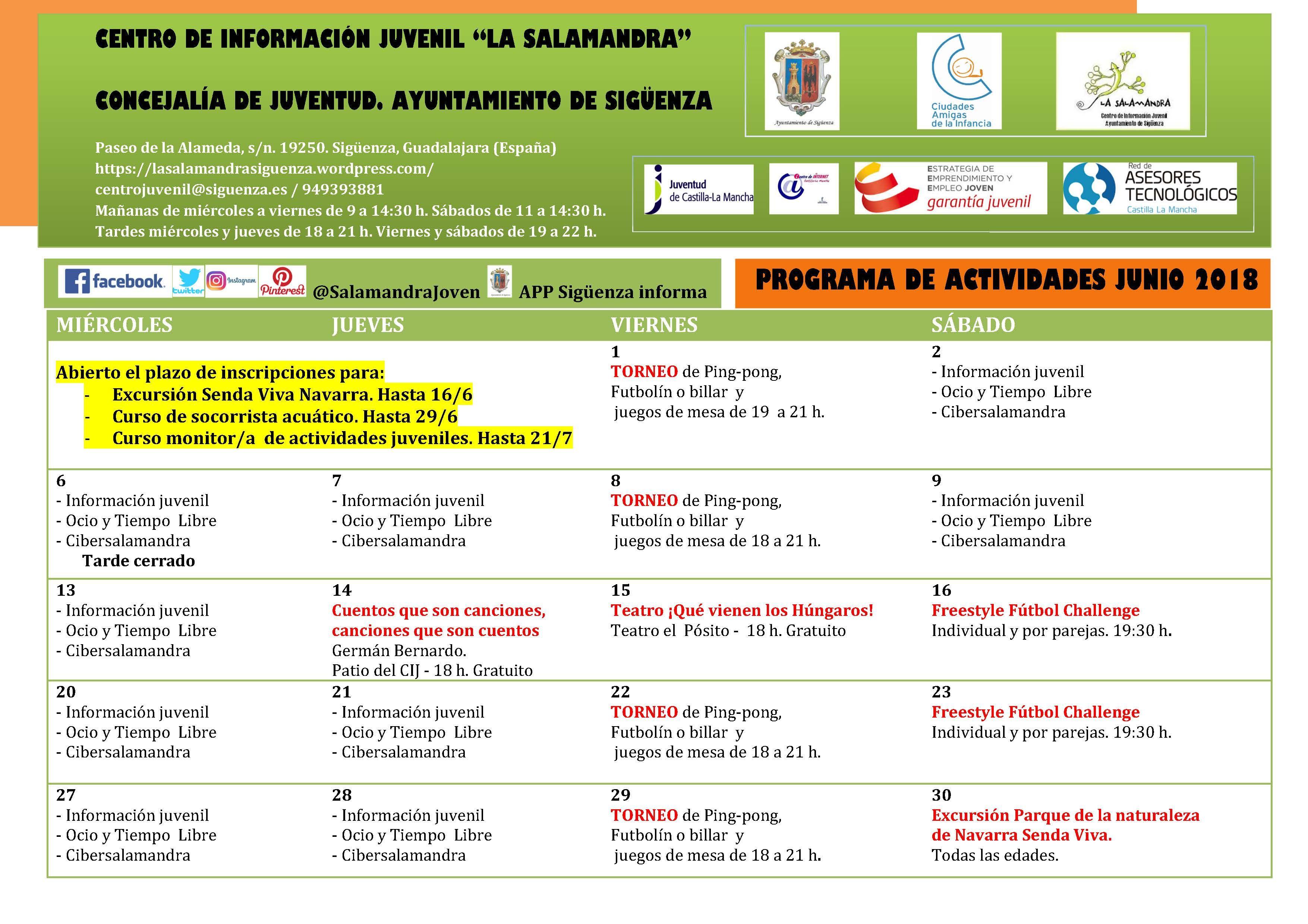 Teatro, excursiones y cursos formativos: propuestas de junio en el CIJ La Salamandra
