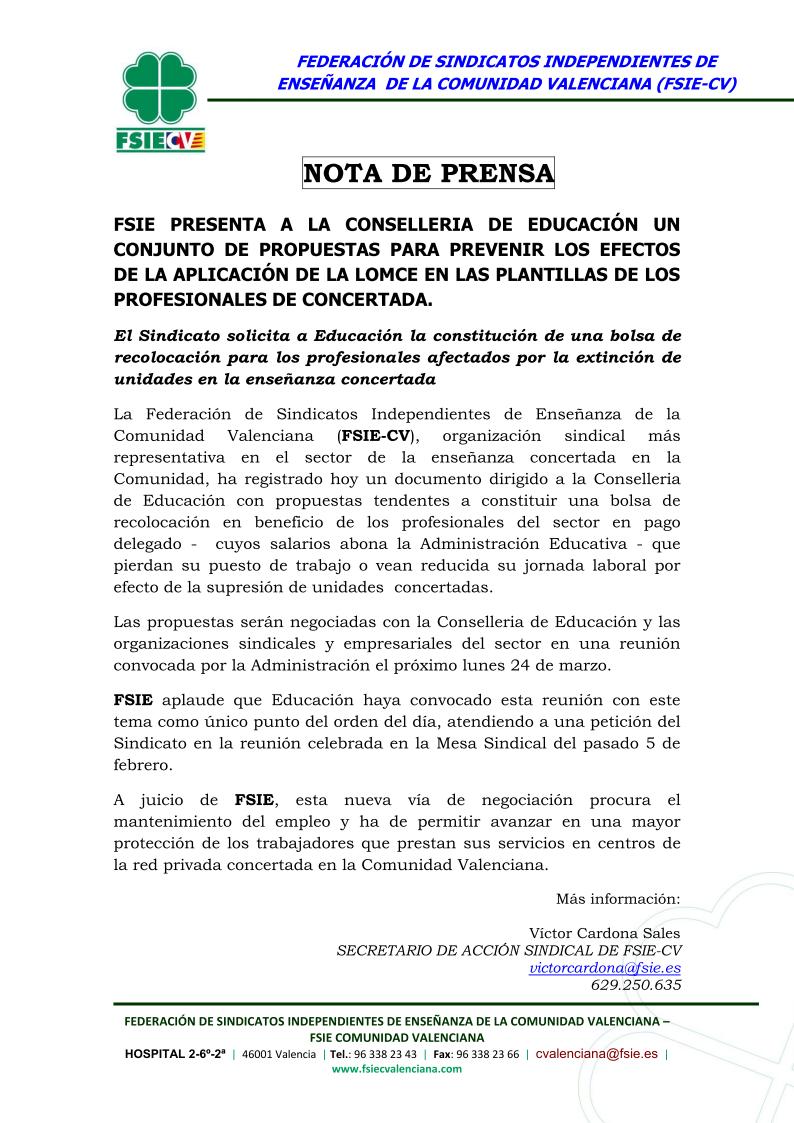 Fsie solicita la recolocaci n de profesionales de centros for Curso mantenimiento de piscinas comunidad valenciana