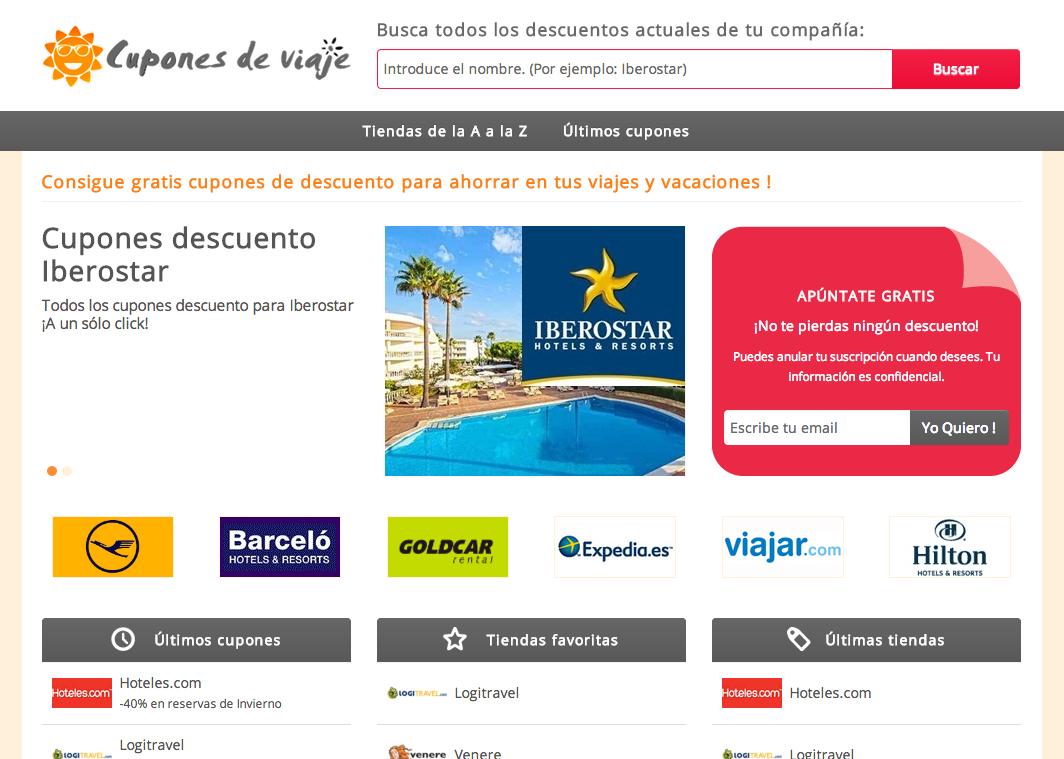 innovadora web de cupones de descuento online para viajes en españa