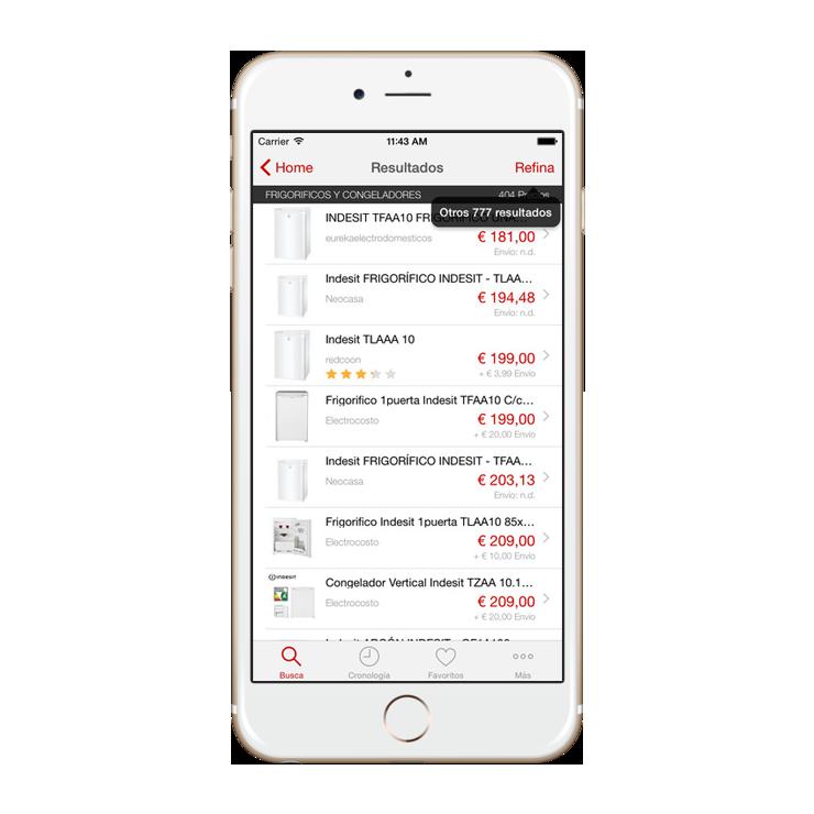 Fotografia App EncuentraPrecios listado de productos