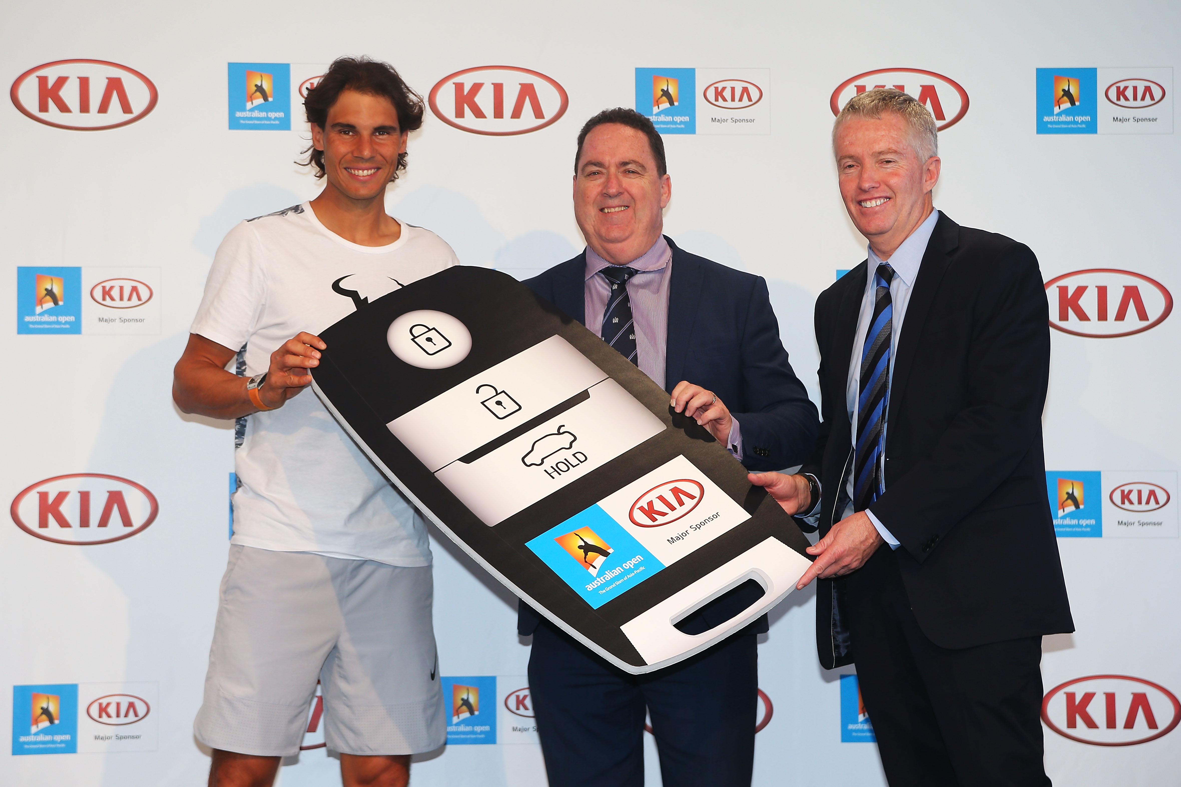 during a Kia Key handover ceremony at Garden Square in Melbourne Park on January 13, 2016 in Melbourne, Australia.