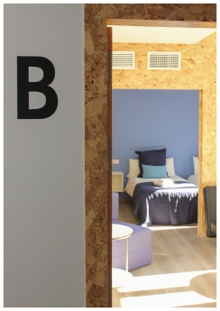 Foto de Detalles interior edificio eco-pasivo estructura de madera