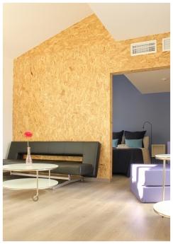 Foto de Detalles del interior edificio eco-pasivo estructura de