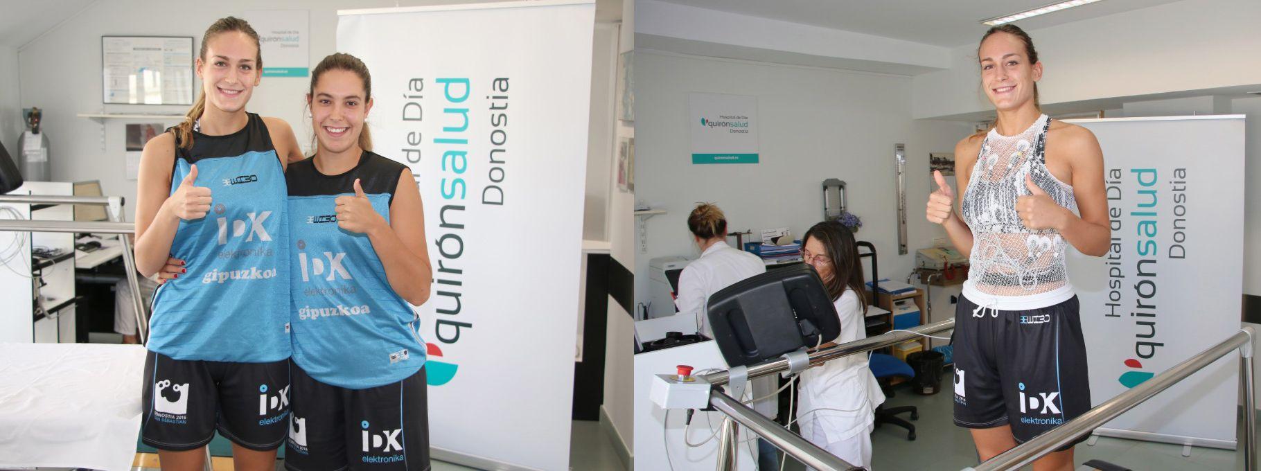 Foto de  Onintza Aduriz y Lara González en el reconocimiento médico.
