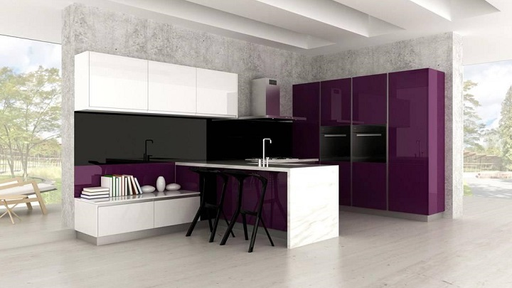 El morado un color perfecto para la cocina notas de prensa - Cocina color lila ...
