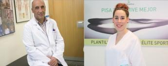 El médico deportivo de Policlínica Gipuzkoa, Enrique Pérez de Ayala, y la podóloga de Policlínica Gipuzkoa y Podoactiva, Leire A