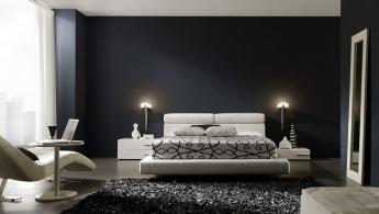 Foto de dormitorio en blanco, negro y grises