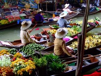 Mercado flotante Damnoen Saduak, Bangkok, Tailandia