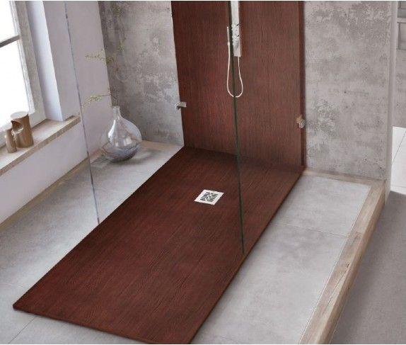 foto de plato de ducha textura madera - Duchas Grandes