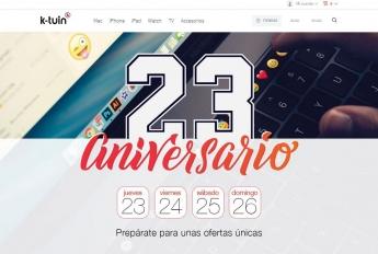 La web de K-tuin anuncia los descuentos en productos Apple programados por su 23 aniversario.