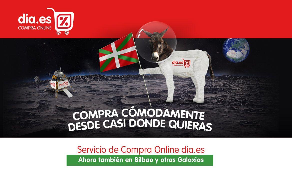 DIA lanza un Euskalburro a la Luna para promocionar su servicio de compra online en Bilbao