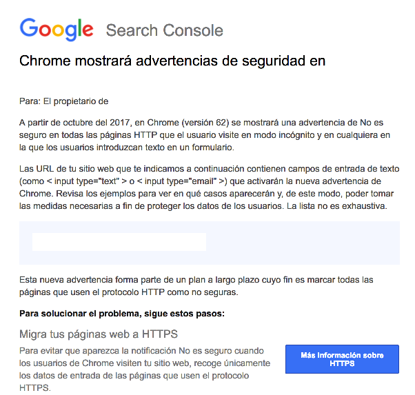 Foto de Advertencia seguridad Google Chrome sitios no https