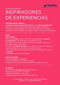 La agencia de viajes PANGEA The Travel Store busca 'Inspiradores de Experiencias'