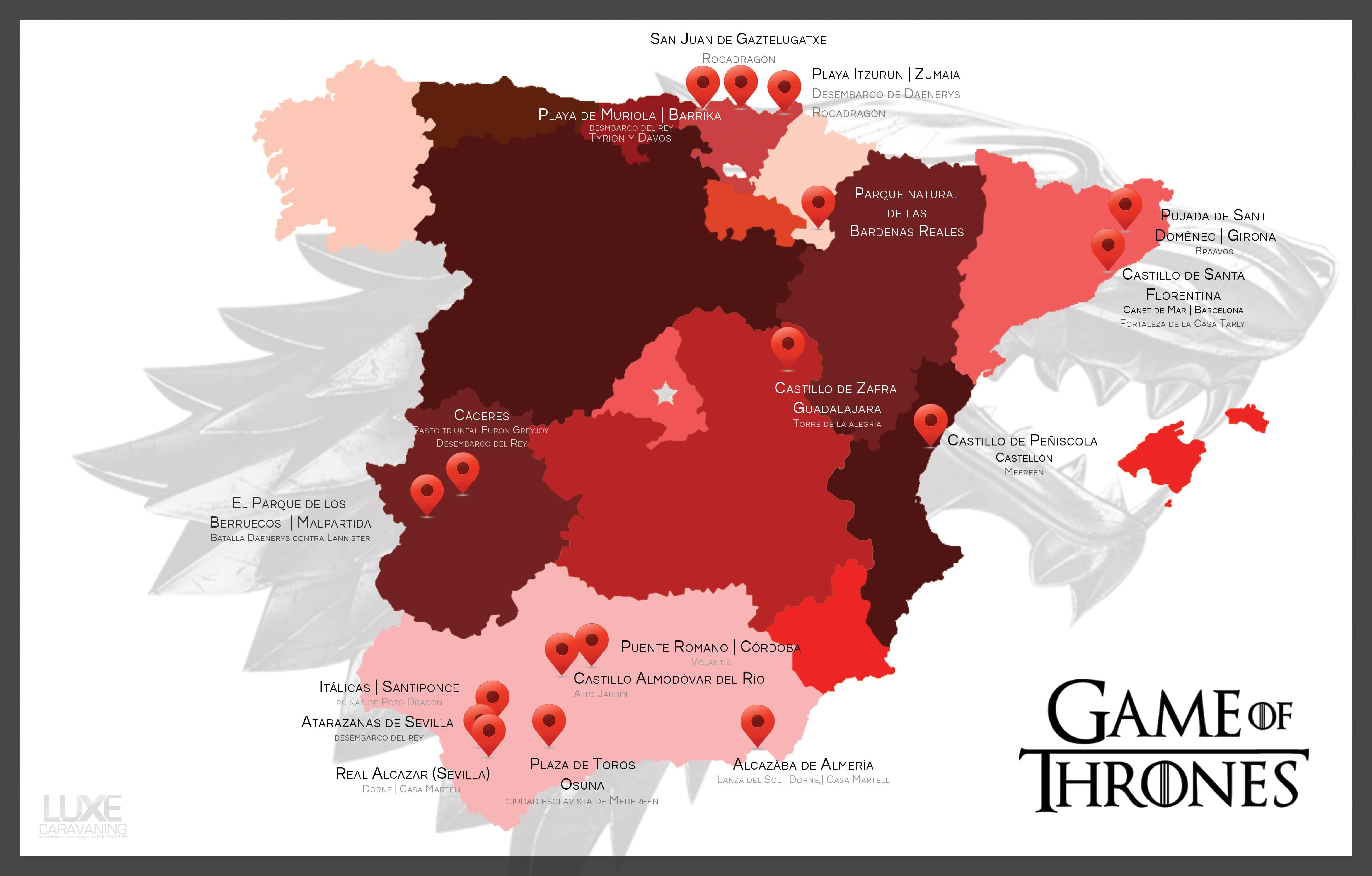 Mapa de todos los escenarios de Juego de Tronos en España
