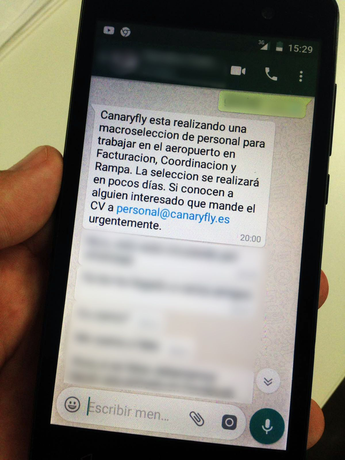 Avalancha de CV en Canaryfly por un Whatsapp que se hace viral ...