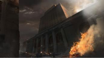 Foto de El Bank of America en llamas, en el videojuego Wolfenstein II
