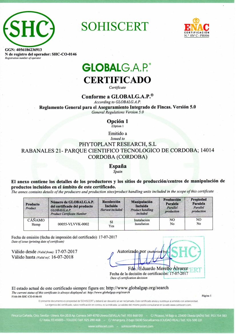 Foto de certificación de GLOBALG.A.P. para la producción de