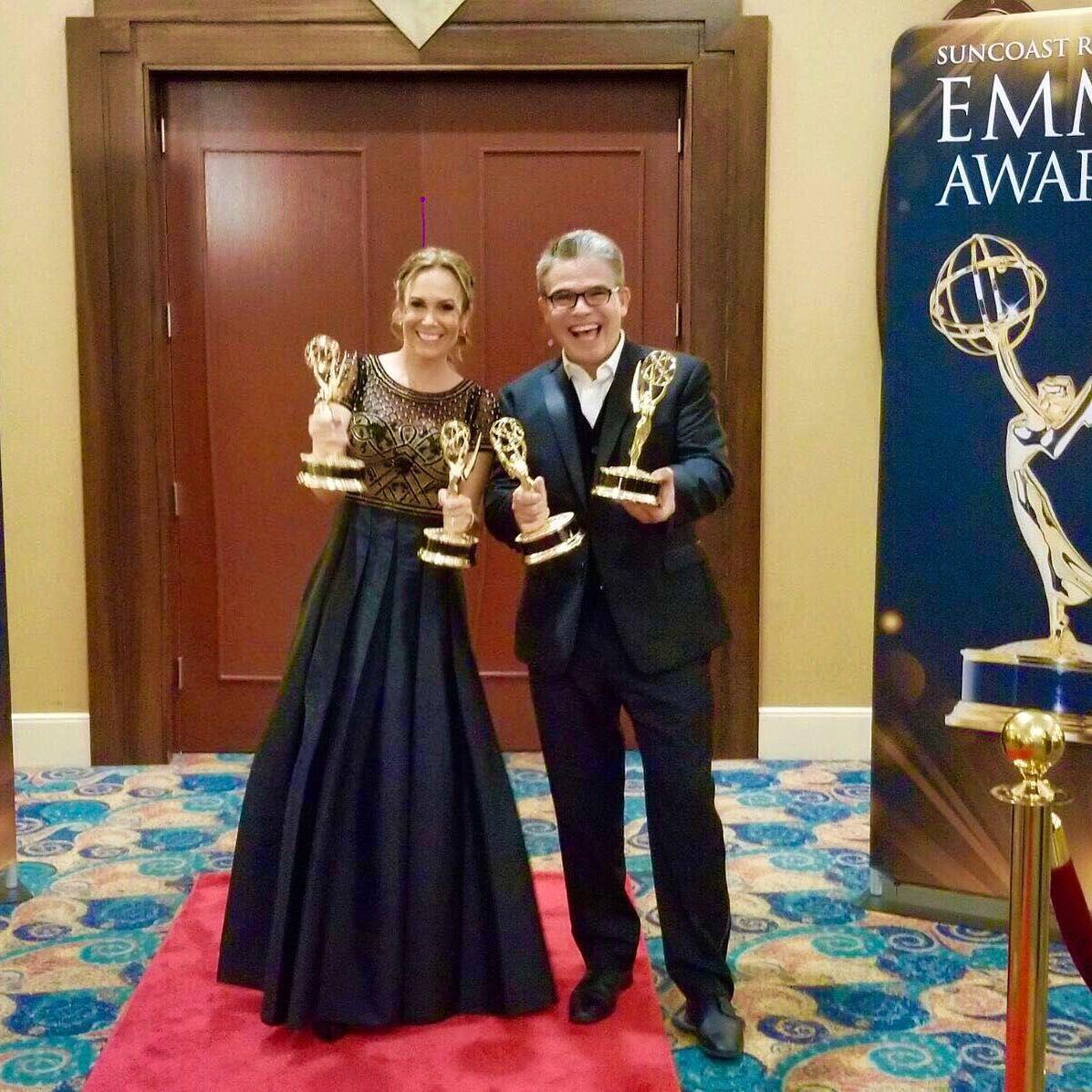 Fotografia Natalia Denegri y Nelson Bustamane reconocidos por el Emmy