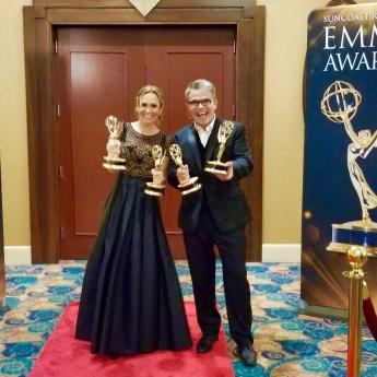 Foto de Natalia Denegri y Nelson Bustamane reconocidos por el Emmy