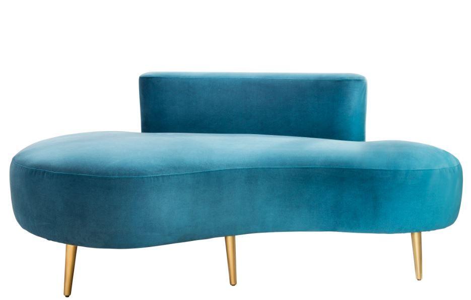 Foto de Sofá Chaise Longue en azul y patas doradas. Sandra Marcos