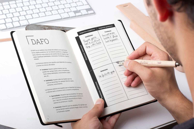 Emprendedor rellenando análisis DAFO