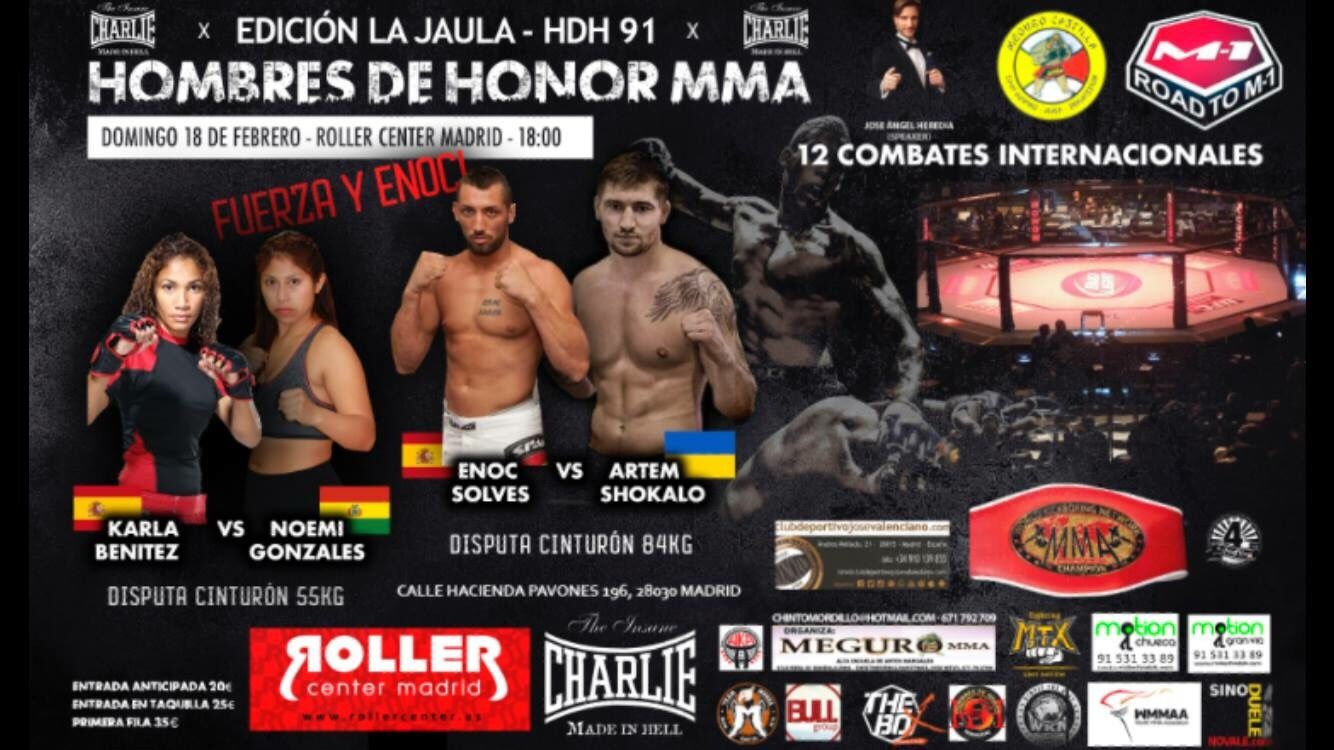 El evento de artes marciales mixtas Hombres de Honor 91 se disputa este domingo en Madrid