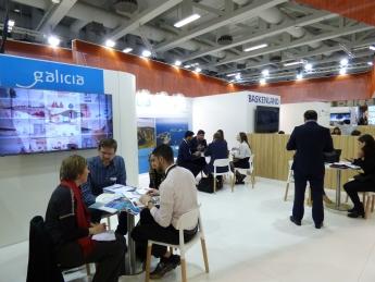 Foto de Mesa de trabajo en el espacio de Galicia en la ITB Berlin