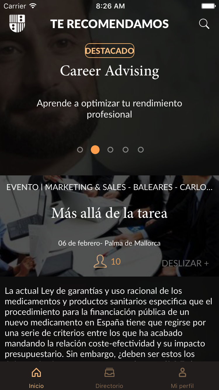 Fotografia Aplicación IESE renovada