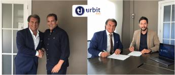 Jaime Hernandez y Miguel Rodriguez, fundadores de Urbit Data, con Joan Laporta.