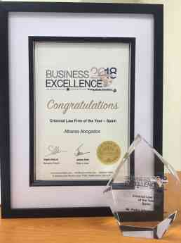 Albares Abogados, reconocido en los Business Excellence Awards 2018 como Mejor Firma Penal del año