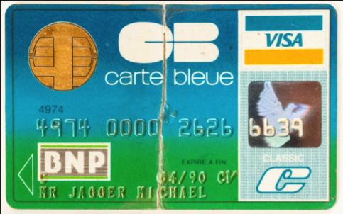 Fotografia Tarjeta de crédito personal de Mick Jagger