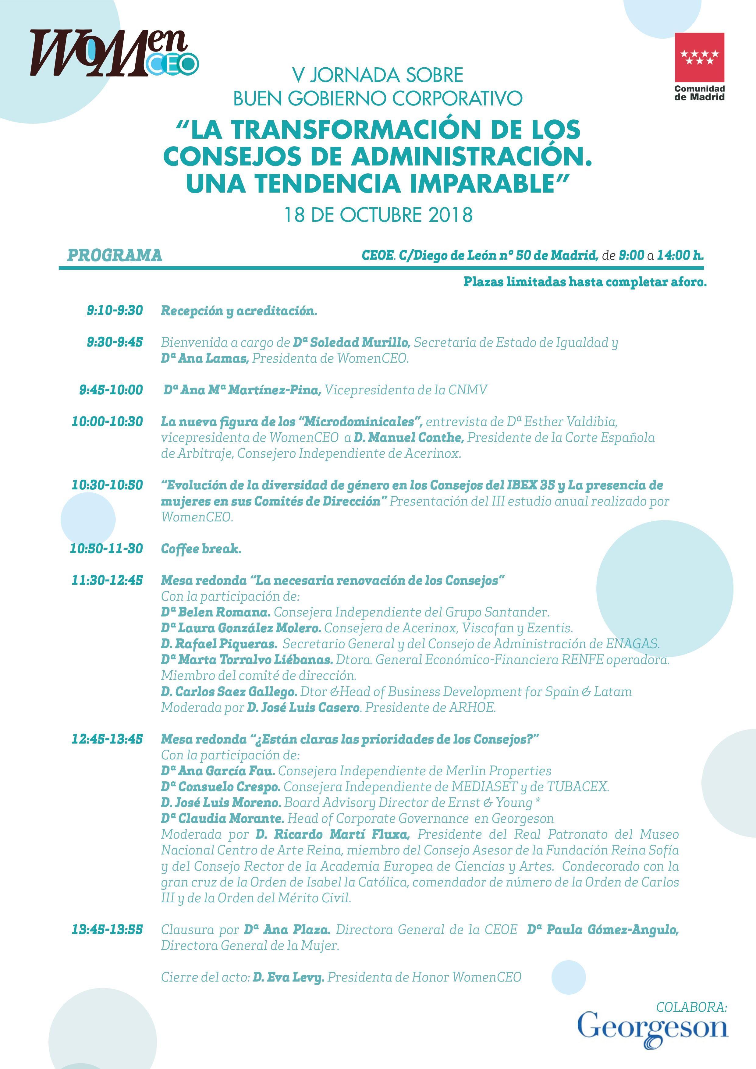 V Jornadas sobre Buen Gobierno Corporativo organizadas por Comunidad de Madrid y WomenCEO