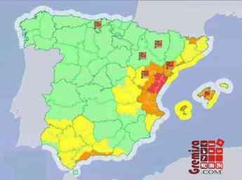Mapa de Gota fría en España