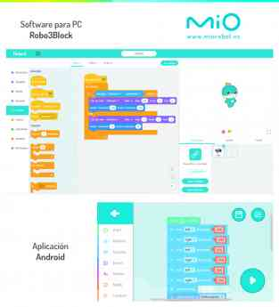 Foto de Mio robot usa software basado en Scratch3 y dispone de app