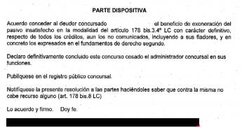 Foto de Auto judicial de cancelación de deudas