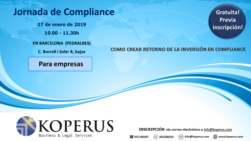Conferencia de compliance para empresas, el 17 de enero en la sala de conferencias de Koperus