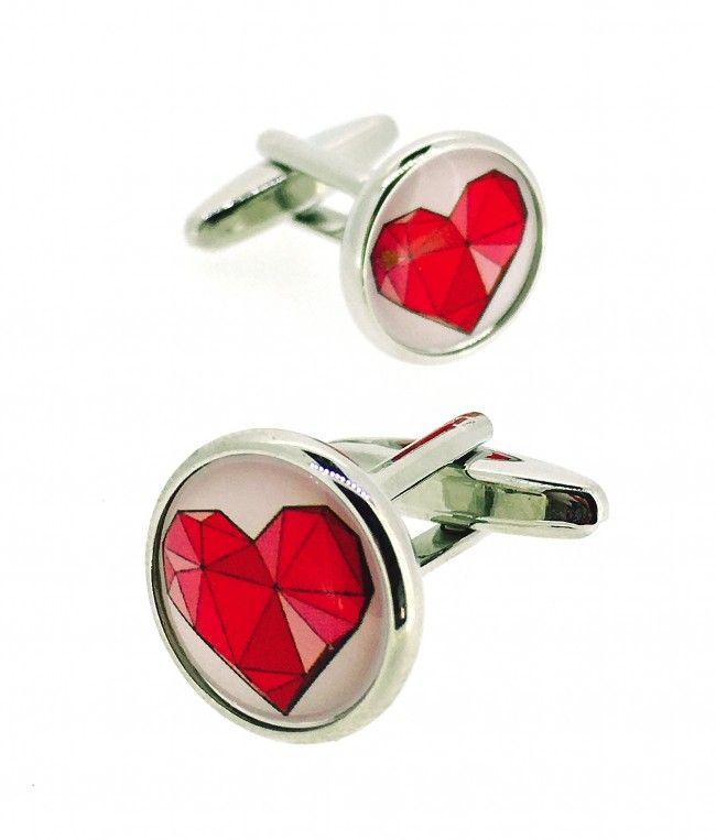 Fotografia Gemelos corazon rojo geometrico