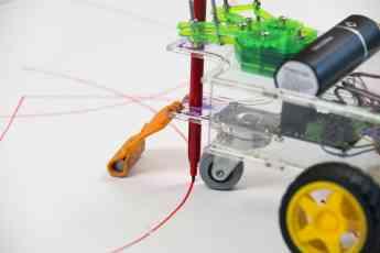Robo Art Fighters, una actividad donde los robots pintan un cuadro abstracto