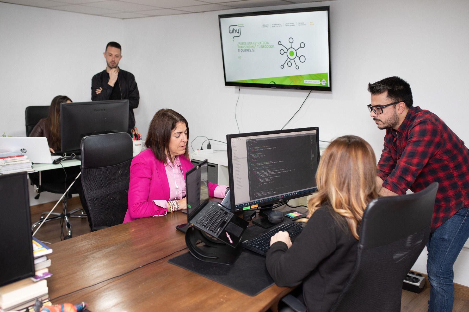 Foto de Desarrolladores de Why Strategic trabajando en la herramienta