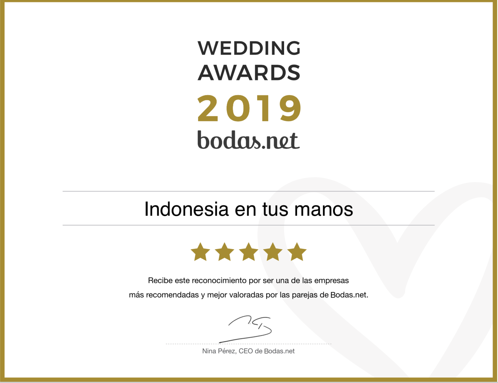 Viajes Indonesia en tus manos recibe un Wedding Award