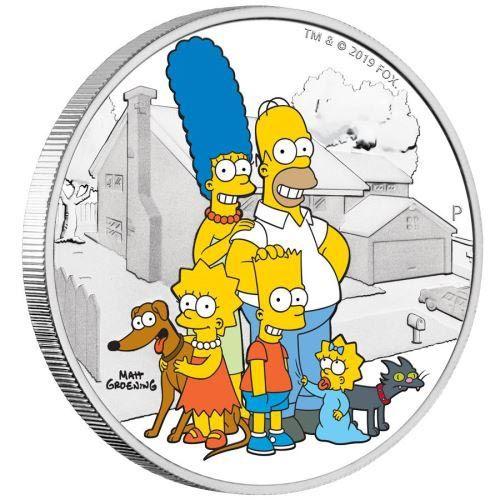 Foto de Moneda 2 onzas de plata 2$ Tuvalu Familia Simpson 2019. Proof.