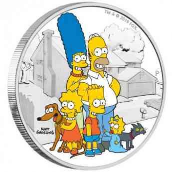 Moneda 2 onzas de plata 2$ Tuvalu Familia Simpson 2019. Proof.